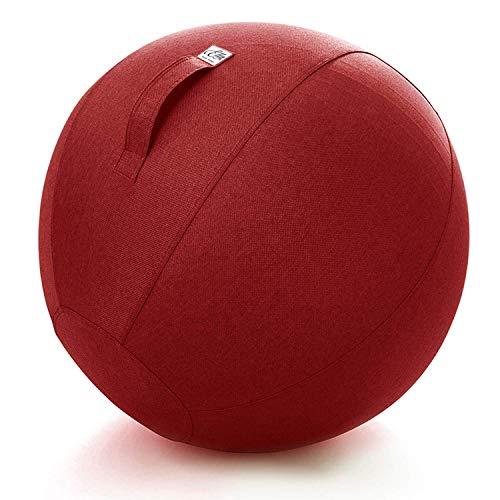 Ella Zitbal Kantoor en Thuis 65 CM - Luxe Yoga Bal - Zitballen met Hoes - Ergonomische Bureaustoel Bal - Linnen Rood