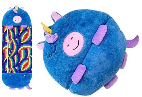 Junqin Saco de Dormir Grande para niños Felices, Saco de Dormir con Almohada de Animales de Dibujos Animados Dos en uno, Adecuado para niños con una Altura de 1 a 1,5 Metros-Blue Unicorn,  160 * 70cm