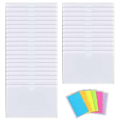 Gydandir 32 Pack Self-Adhesive Index Card Pockets Top Open Crystal Clear Plastic Card Holder Suitable for Organizing and Protecting 3x5 Inches Index Cards