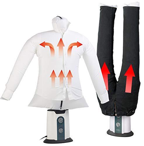 Sichler Haushaltsgeräte Bügelstation: 2in1-Bügelpuppe inkl. Hosen-Aufsatz, Gebläse & Kleiderständer, Timer (Bügelmaschine)