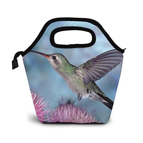 Bolsas de almuerzo pequeñas para mujer con diseño de flores rosadas y colibrí para niños, impermeable, aisladas para el trabajo y la escuela