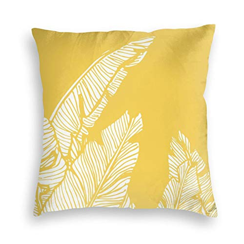Banana Leaves On Yellow Velvet Soft Cushion Covers Square Throw Pillowcases for Sofa Bedroom Car with Invisible Zipper 18x18 Inch