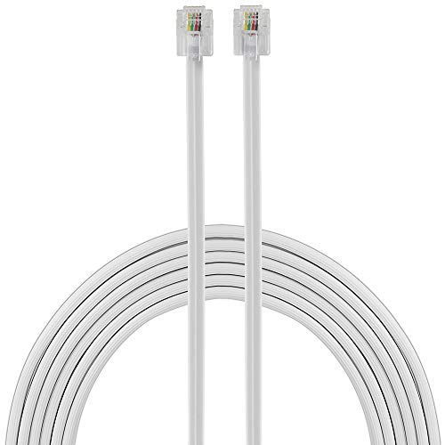 Power Gear Telephone Line Cord, 100 Feet, Phone Cord, Modular Jack Ends, Works for Phone, Modem or Fax Machine, for Use in Home or Office, White, 27638