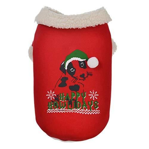 LbojailiAi Weihnachten Haustier Hund Welpe Baumwolle Warme Winter Colthes Jacke Mantel Kostüm Schneeflocke -RedXL