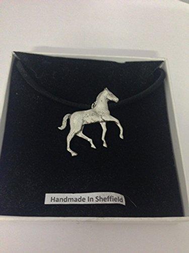 Fohlen pp-e14Pferd & Reiter English Pewter auf schwarzer Kordel Halskette handgefertigt 41cm