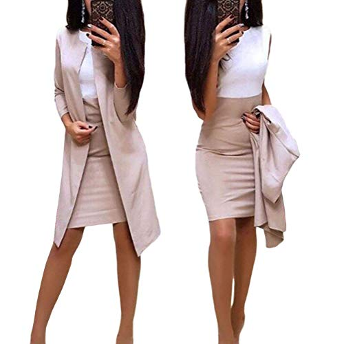 Minetom Damen Langarm Bodycon Mini Kleid und Jacke Langer Mantel 2 Stücke Herbst Winter Elegant Sexy Büro Party Cocktail Business Abendkleid Bleistftkleid B Khaki 38