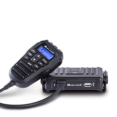 Midland M-5 CB Radio Ricetrasmittente Veicolare Multi Banda 40 Canali AM/FM, Compatto con Comandi Direttamente sul Microfono con Display LCD, Squelch, con Presa 2 Pin Kenwood e USB