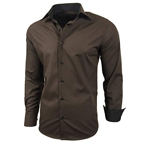Baxboy Herren-Hemd Slim-Fit Bügelleicht Für Anzug, Business, Hochzeit, Freizeit - Langarm Hemden für Männer Langarmhemd R-44, Größe:L, Farbe:Braun