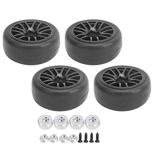 Neumáticos de camión RC 1/10 de 4 piezas, neumáticos de ruedas suaves de deriva y llantas de plástico con revestimiento hexagonal de 12 mm para WPL D12 Diámetro del automóvil en carretera: 65 mm/2.6in