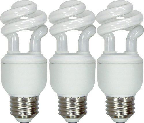 GE Lighting 97688 Energy Smart Spiral CFL 10-Watt (40-watt replacement) 520-Lumen T3 Spiral Light Bulb with Medium Base, 3-Pack