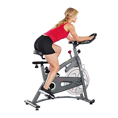 Sunny Health & Fitness Magnetic Belt Drive Indoor Cycling Bike - SF-B1877, silver