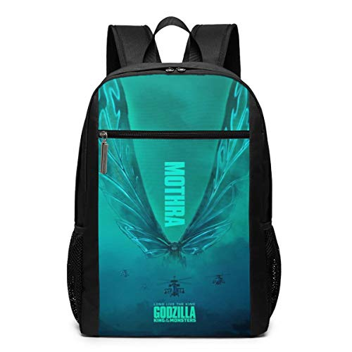 Godzilla Mo-thra Multi-Functional Travel Laptop Backpack For Women & Men,Durable Casual College Daypack School Bookbag Business Computer Bag-17inch