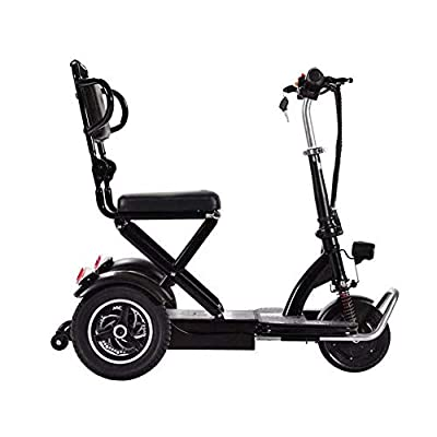 XCBY Folding Portable Lightweight?Electric Mobility Scooter 3 Wheeled ?250W Faster?Travel Pavement Fits in Most Car Boots Black-35KM