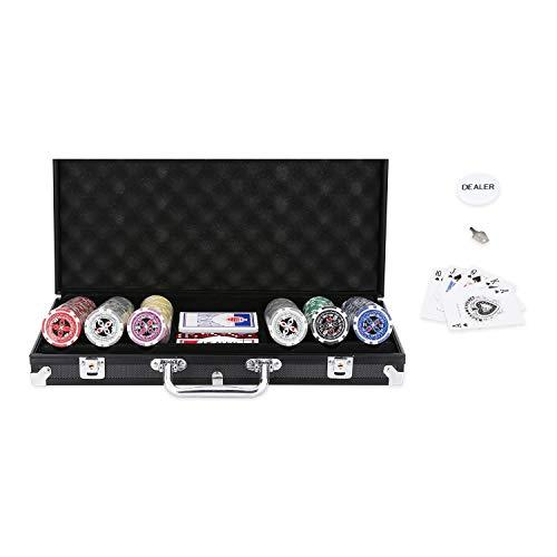 Hengda Pokerkoffer 300 Chips Laser Pokerchips Poker 11.5 Gramm , 2 Karten, Händler, 5 Würfel, mit Aluminium-Gehäuse Schwarz Koffer