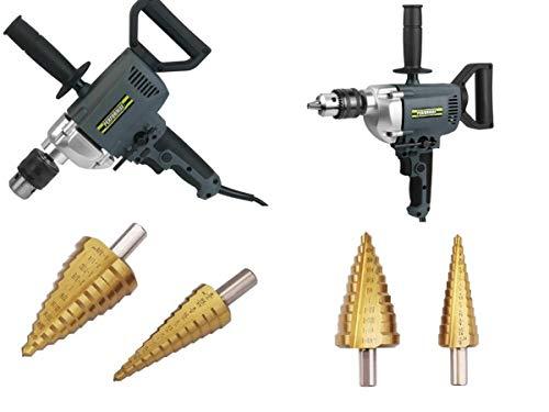 Performax 7-Amp Corded 5/8' Spade Handle Drill & Titanium Step Drill Bit Set - 2 Piece