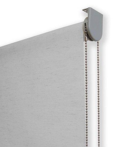 Estor Enrollable Lino Premium Metal (Desde 40 hasta 260cm de Ancho) translúcido (Permite Paso de luz/no Permite Ver el Exterior). Color Lino Gris. Medida 40cm x 160cm para Ventanas y Puertas.