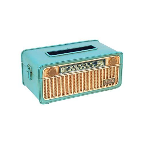 CAPRILO. Caja Decorativa de Metal para Pañuelos Radio Retro. Cajas Multiusos. Regalos Originales. Decoración Hogar. 25 x 13,50 x 11 cm.