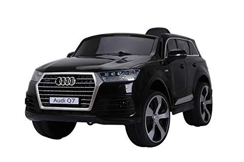 AUDI Q7 SUV Kinder Auto Elektroauto Kinderauto Elektrofahrzeug Kinderfahrzeug mit LED-Beleuchtung, MP3-Anschluss und Fernbedienung 2.4 GHz, Antrieb: 2x 12V Motor, für drinnen und draußen, (Black)*