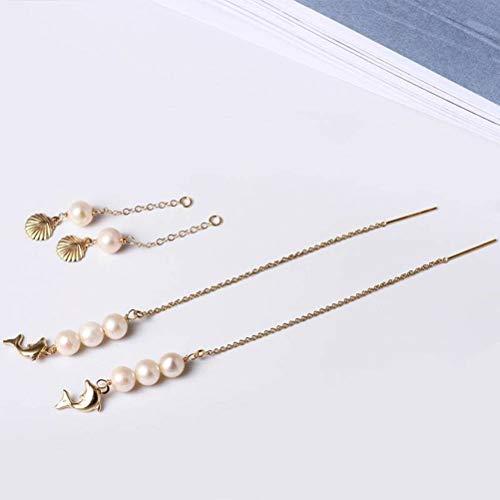 LOt Pendiente en Forma de Gota para Las Mujeres Hecho a Mano Diy14K Pendientes de Concha de Oro Del Océano Pendientes de Perlas de Belleza de Moda Largaperla