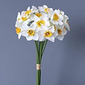 TRRT Fake Plants Daffodil Orchid Bridal Bouquet, DIY Artificial Flowers Wedding House Decor Fake Flower