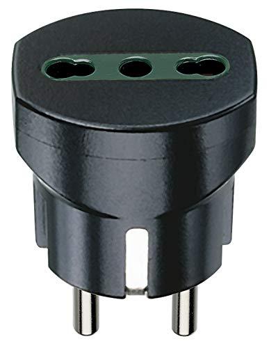 Vimar RI.00301N Adattatore elettrico tedesco/francese con protezione SICURY, Bpresa +P17/11 nero