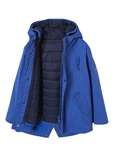 Vertbaudet - Parka con capucha 3 en 1 impermeable para niño azul eléctrico 5 años