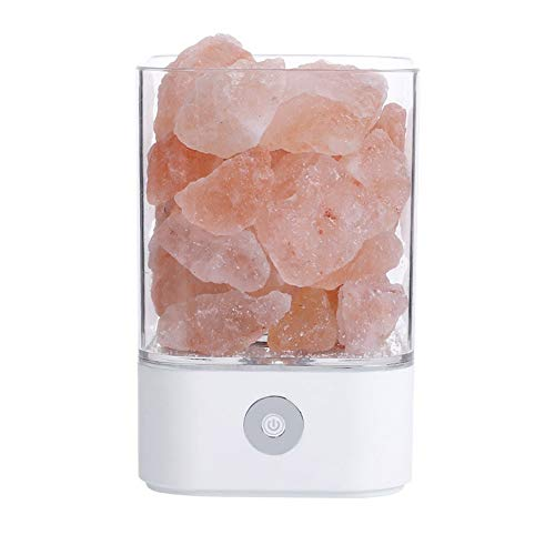 CHENTAOCS Himalaya kristallen zoutlamp USB-LED-lamp luchtreiniger Mood Creator nacht LightIndoor warm licht tafellamp slaapkamer lava-lamp New (kleur: zilver)