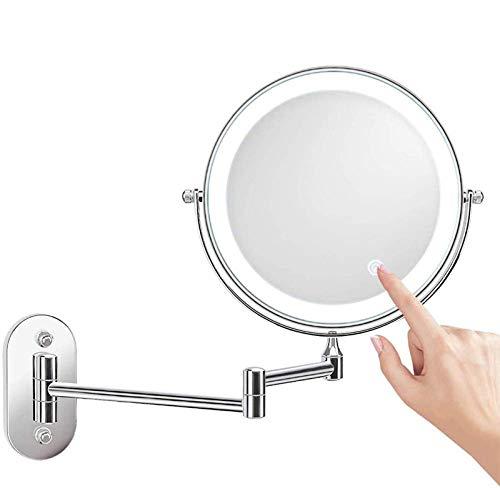 Miroir Grossissant Lumineux Double Face Miroir Grossissant 10 Lumineux Rotation à 360° 5 Fois Grossissement pour Maquillage de Femme et Rasage des Homme7X