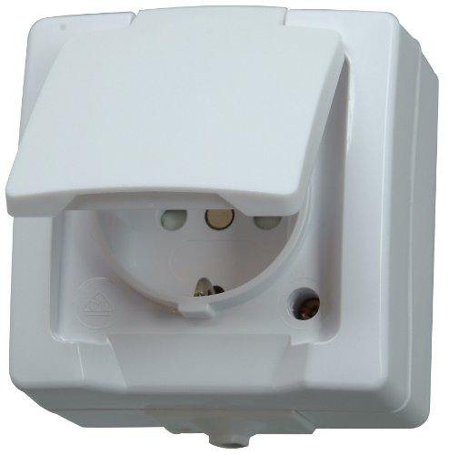 Kopp Nautic Steckdose für Feuchtraum, Aufputz, 1-fach Schutzkontakt-Steckdose mit Deckel & erhöhtem Berührungsschutz, 250V (16A), arktis-weiß, 107802006