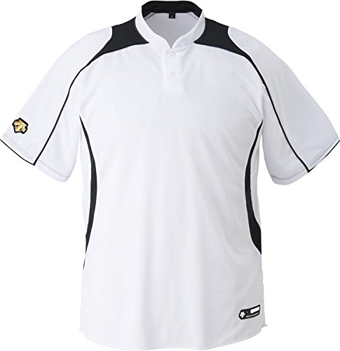 DESCENTE(デサント) 野球 立衿2ボタンベースボールシャツ ホワイト×ブラック XAサイズ DB110B