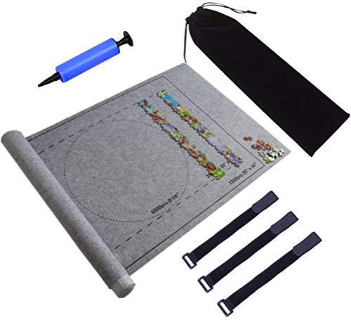 Rompecabezas portátil Mat Jigsaw Roll Felt Mat Play Mat Puzzles Blanket Para hasta 1500 piezas Puzzles Bolsa de almacenamiento de viaje Puzzle Pad-Play Mat Puzzle Saver Storage Felt Mat Board Gray