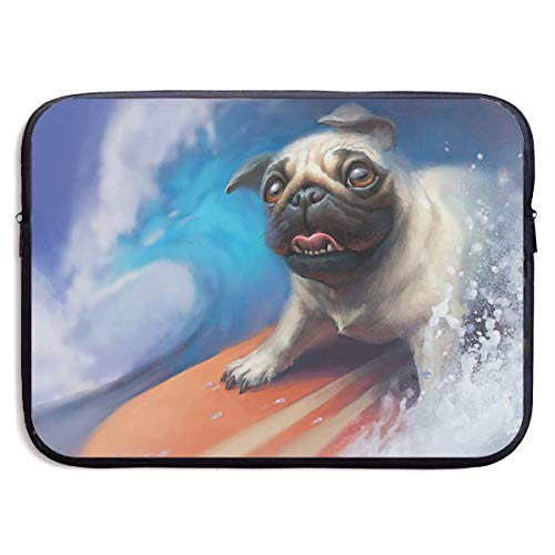 Fashion Computer Liner Sleeve Case Cute Surfing Pug Dog for MacBook Pro/MacBook Air/Asus/Dell,15inch