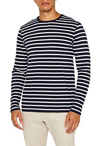 ESPRIT Herren 089Ee2K042 Langarmshirt, Blau (Navy 2 401), Large (Herstellergröße: L)