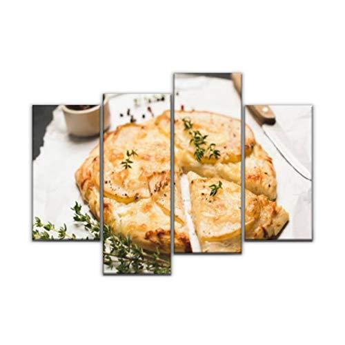 Impression sur Toile, Pizza aux poires, Fromage et thym French Food Photos et Images de Tableau Decoration Murale Photo Image Artistique Photographie Abstrait Art Peinture, 4 Parties