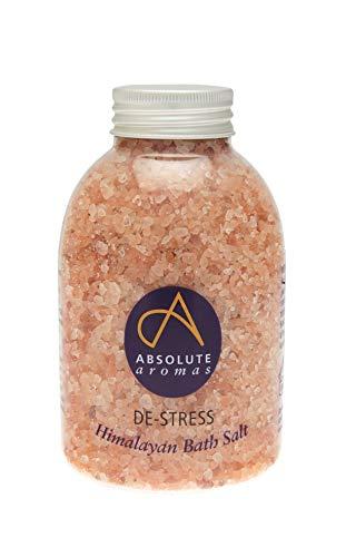 Absolute Aromas Sels de Bain De-Stress Anti-Stress 625g - Sel Naturel Rose d'Himalaya Infusé Infusé d'Huiles Essentielles Pures à 100% - Huiles de Bergamote, Ylang Ylang, Encens et Huile de Jasmin