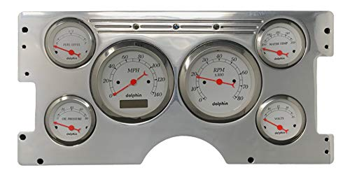 Dolphin Gauges 1988 1989 1990 1991 1992 Chevy Truck 6 Gauge Dash Cluster Panel Set Programmable White
