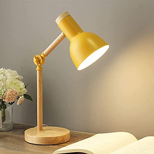 Dormitorio de la lámpara de mesa, Lámpara de mesita de noche LED Dimmable Lámpara de mesa moderna de la lámpara de escritorio de madera y metal PROTECCIÓN DE LECTURA DE LECTURA E27 Luz de noche Ajusta