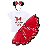 Mouse 4th Birthday Outfit Toddler Girls T-Shirt Tops Mini Tutu Skirt Headband 4 Years Old Cake Smash Photo Shoot Four Kids Fourth Mouse Themed Birthday Party Supplies Decorations Red Bowknot