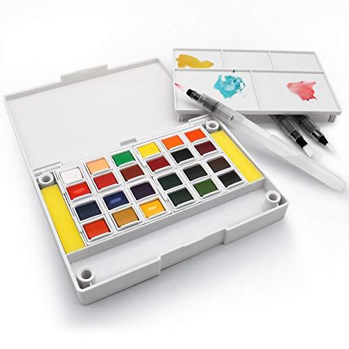 Artify de Pintura 24 Colores Surtidos con 3 Pinceles Set de Pintura para Pinturas Mini Kit de Pintura de Acuarela para