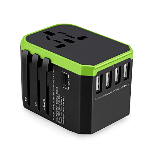 Naack Cubo Travel Charger Universal Internationale Power Adapter met 4 x USB 5,6 A max, 1 x Type C 3A oplader voor de EU, UK, VS, AU meer dan 180 landen, max. 1840 W.
