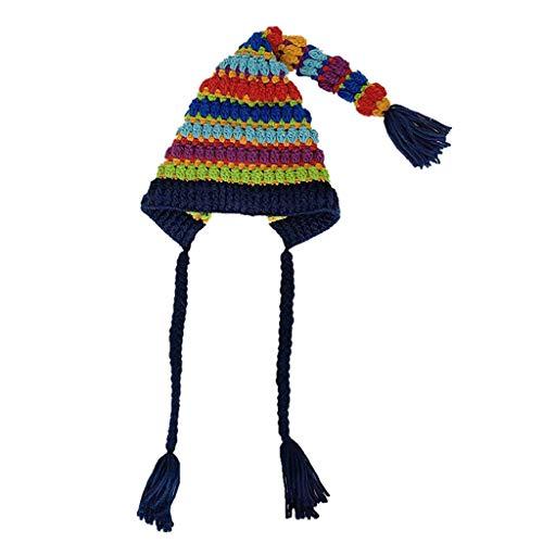 Mütze Mädchen Kolylong Jungen Bunte Regenbogen Strickmütze mit Quasten Pom Pom...