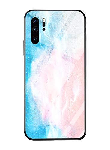 Oihxse Mode Coloré Dégradé Case Compatible pour Huawei Y7 2019/Y7 Prime 2019 Coque Revêtement Arrière en 9H Verre Trempé Protection Housse Mignon Silicone Bord Bumper Anti Rayures Etui