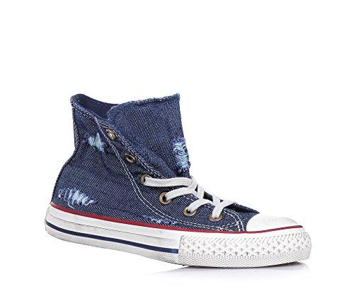 CONVERSE - Sneaker blu Chuck Taylor All Star in denim, inserto anteriore in gomma, effetto used, Bambino, Ragazzo-35