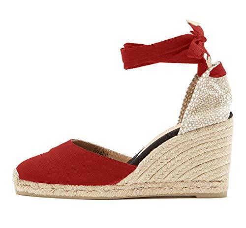 Minetom Sandalias Mujer Verano Tacón Alto De Cuña Plataforma Romanas Sandals Casual Cabeza Redonda Cordones Zapatos Dulce