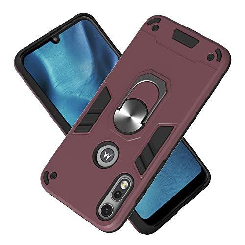 FAWUMAN Hülle für Motorola Moto E7 mit Standfunktion, PC + TPU Rüstung Defender Ganzkörperschutz Hard Bumper Silikon Handyhülle stossfest Schutzhülle Case (Kastanienbraun)