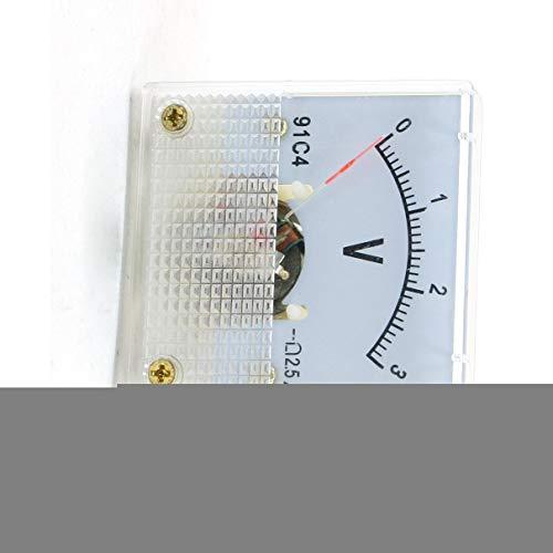 Aexit Viereckig klar DC 0-3V Voltmeter Analog Spannungs Messgerät Strommesser 91C4 de