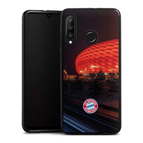 DeinDesign Silikon Hülle kompatibel mit Huawei P30 Lite Case schwarz Handyhülle FCB Stadion FC Bayern München