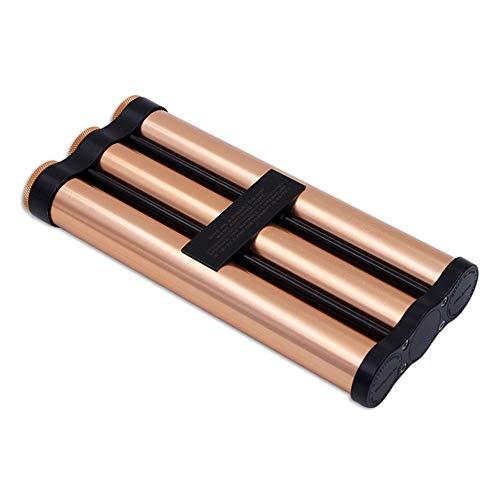QINJLI portátil Tubo de cigarro hidratante, 3 de Metal a Prueba de Agua Desodorante de Puros, Cajas de una Sola Pieza de Viaje Caja de cigarros con humidificador (Color : Gold)