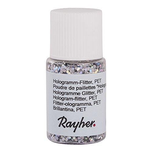 Rayher 39422610 Hologramm-Flitter, 2 mm, PET, Fläschchen 10 ml, brill.