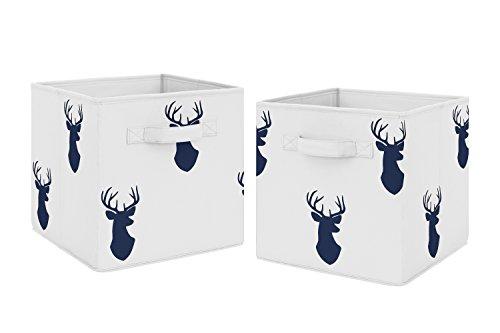 Sweet Jojo Designs - Juego de 2 cubos de almacenamiento de tela, color azul marino